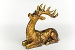 Resin Sitting Deer - Anitique Gold